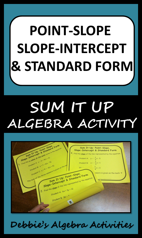 Point Slope Slope Intercept Standard Form Sum It Up Activity