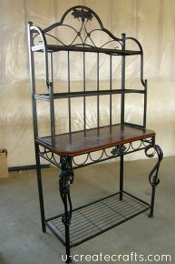 How To Turn An Old Bakers Rack Into A Desk With Images Bakers Rack Furniture Bakers Rack Decorating