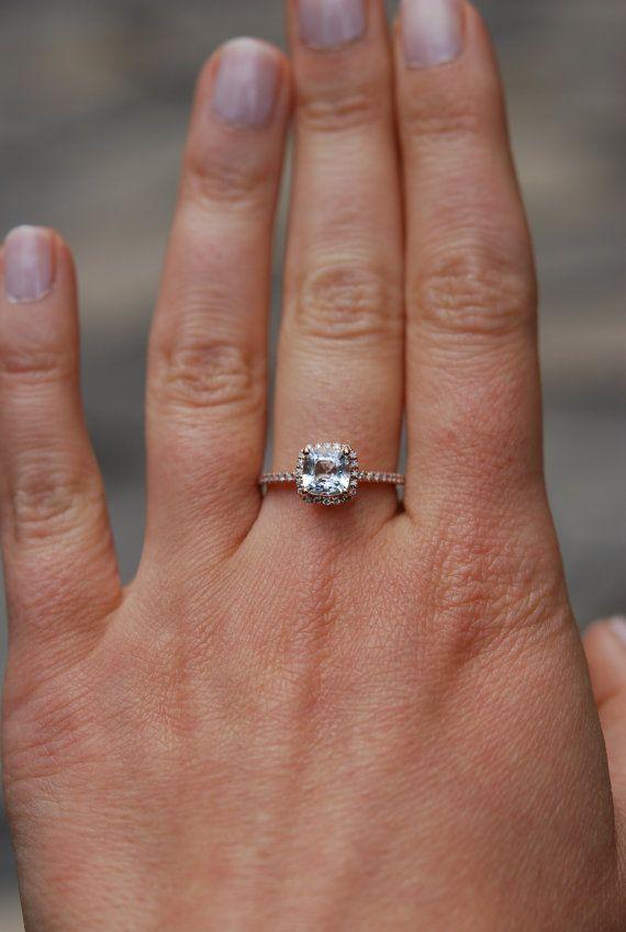 White sapphire ring. Engagement Ring square by EidelPrecious