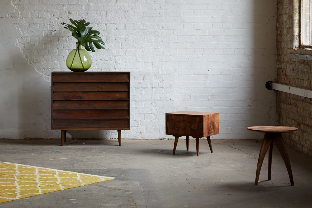 LOFTY LIVING, Spring/Summer 2015. Featuring the Ando drawers, the Zabel bedside table, the Oscar side table and the Soho rug.  #swooneditions #furniture #interior #interiorinspiration #loftyliving #industrialroom #livingroom #whitebrickwall #rosewoodfurniture #chestofdrawers