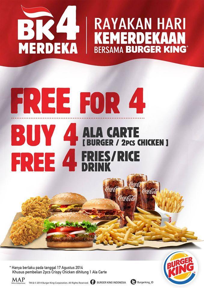 Menu Ala Carte Burger King Indonesia.Spesial Promo Beli 4 Menu A La Carte Gratis 4 Nasi Kentang
