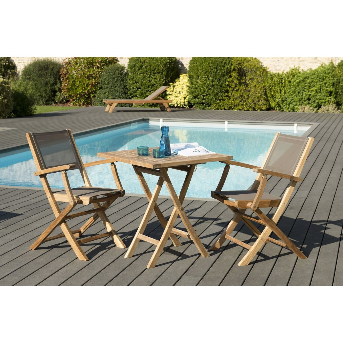 Salon De Jardin Bois De Teck Table Carree Pliante 70x70cm 2