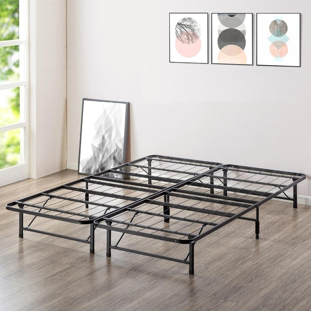 12 Inch Quickbase Metal Mattress Foundation With Steel Slats For