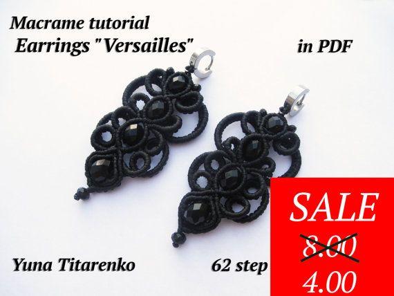 Macrame Earrings tutorial Versailles di Makramania su Etsy
