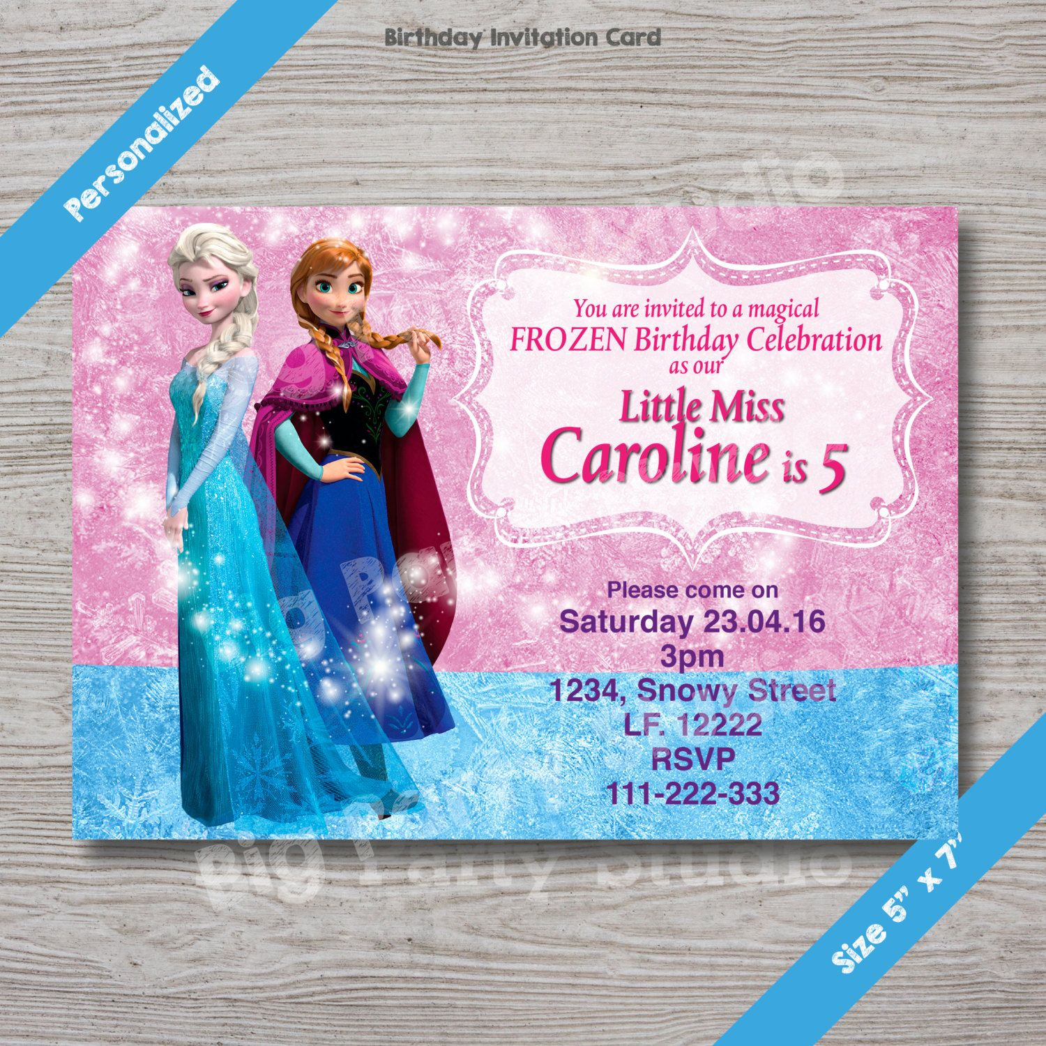 Disney Frozen Elsa Anna Personalized Happy Birthday Invitation - Birthday invitation frozen theme