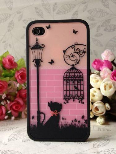 $11.39 Romantic Cat Under Lamp Birdcage Hard Back Case Cover Skin for iPhone 4 4S | eBay