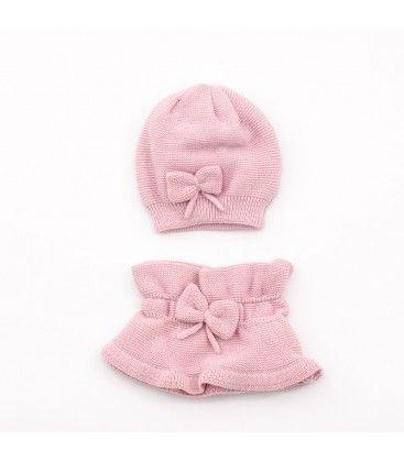 047823edfa15e Conjunto gorro y cuello de punto rosa para niña