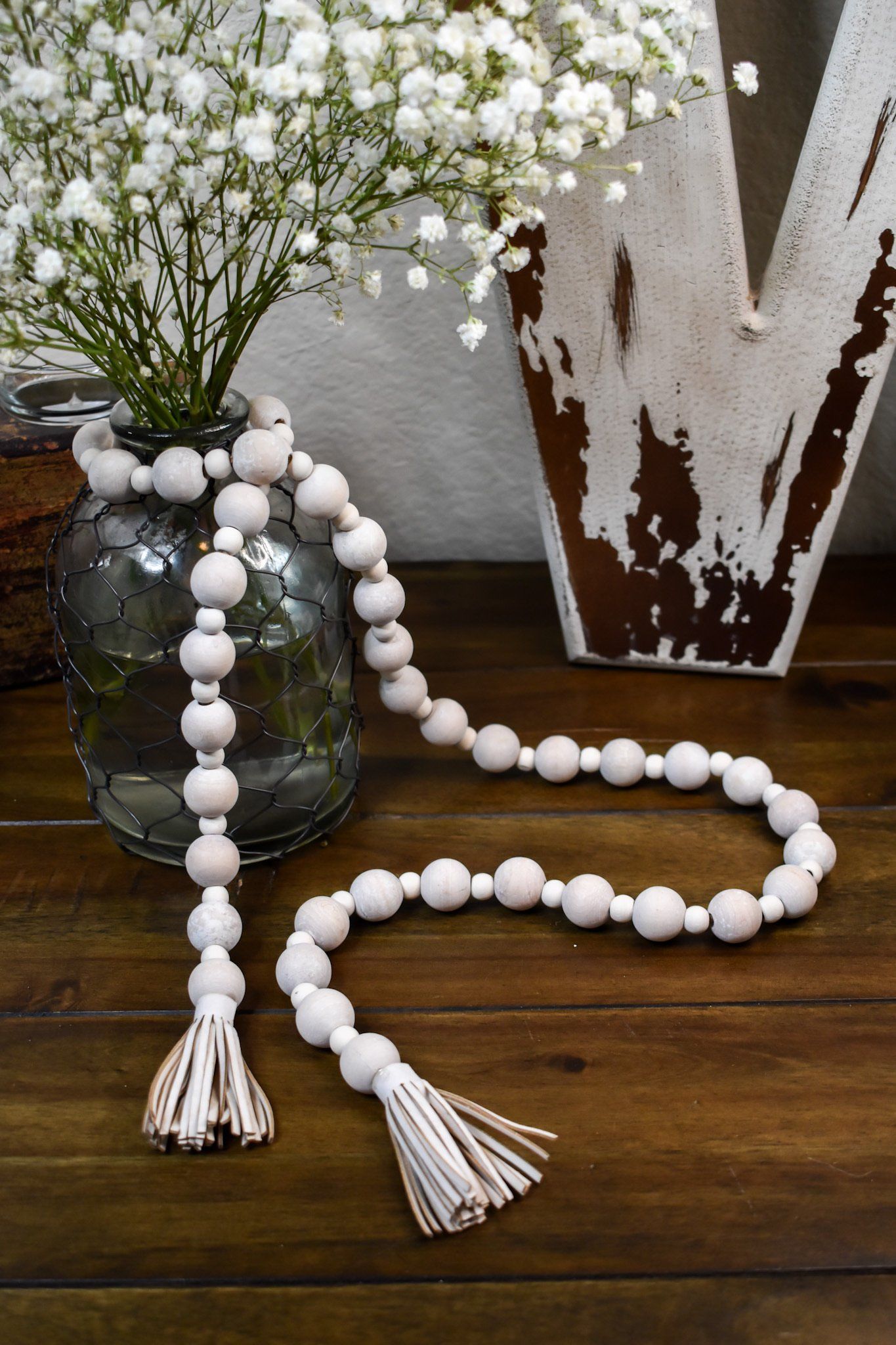 Wood Bead Garland - Distressed with Tassels