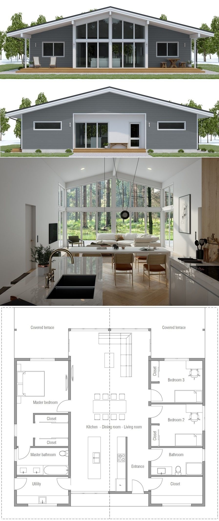 Single Story House Plam Homeplans Houseplans Architecture Newhomes Concepthome Adhouseplans Dream House Plans New House Plans House Plans