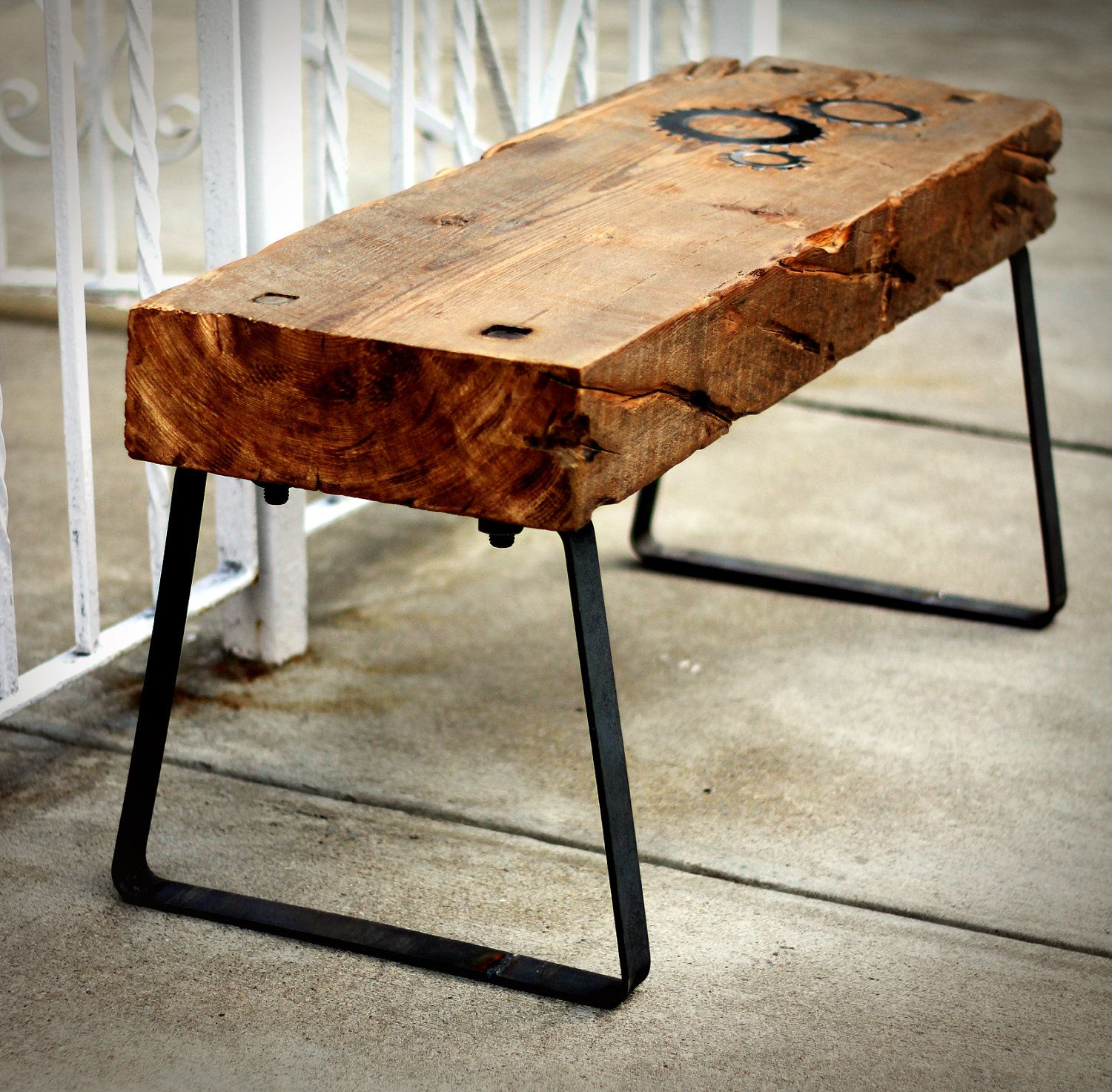 Raw Timber Furniture Reclaimed Barn Wood Bench Raw Steel Legs And Inlaid Coggs