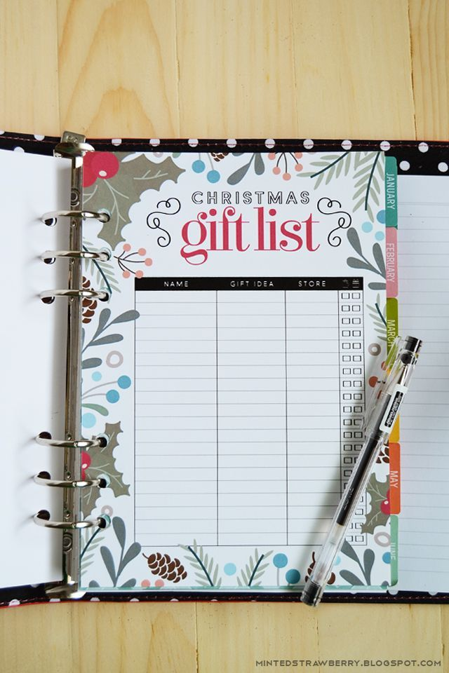 free printable christmas gift list insert for a5 planners letter