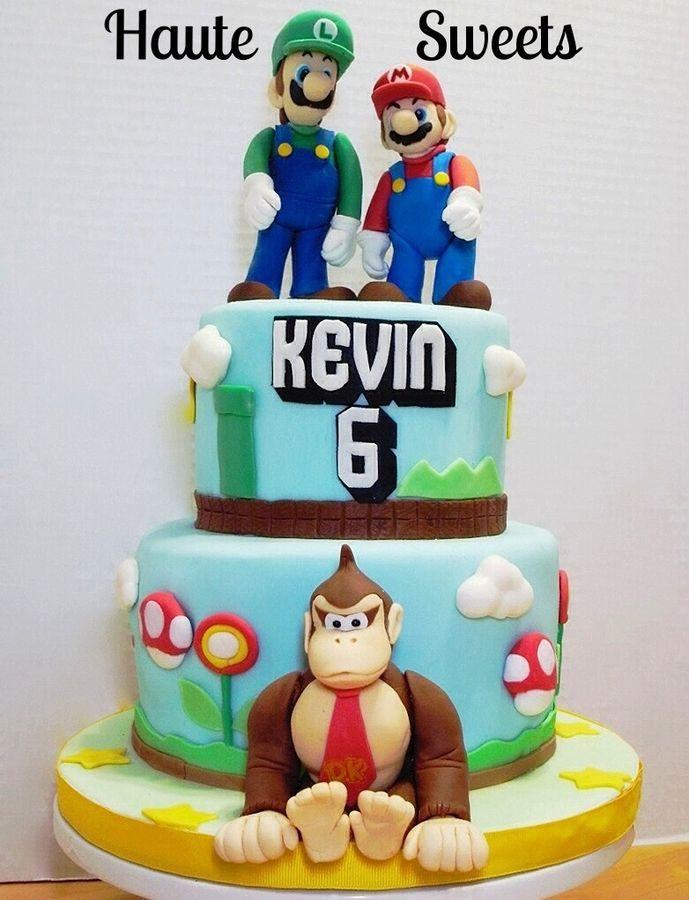 Awe Inspiring Super Mario Bros And Donkey Kong Birthday Cake With Images Funny Birthday Cards Online Amentibdeldamsfinfo
