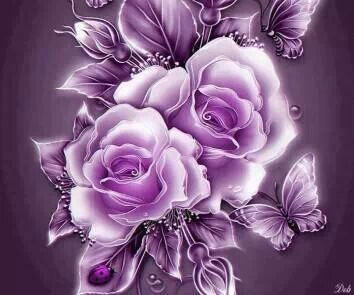 Purple Roses And Butterflies Purple Passion Flowers Purple