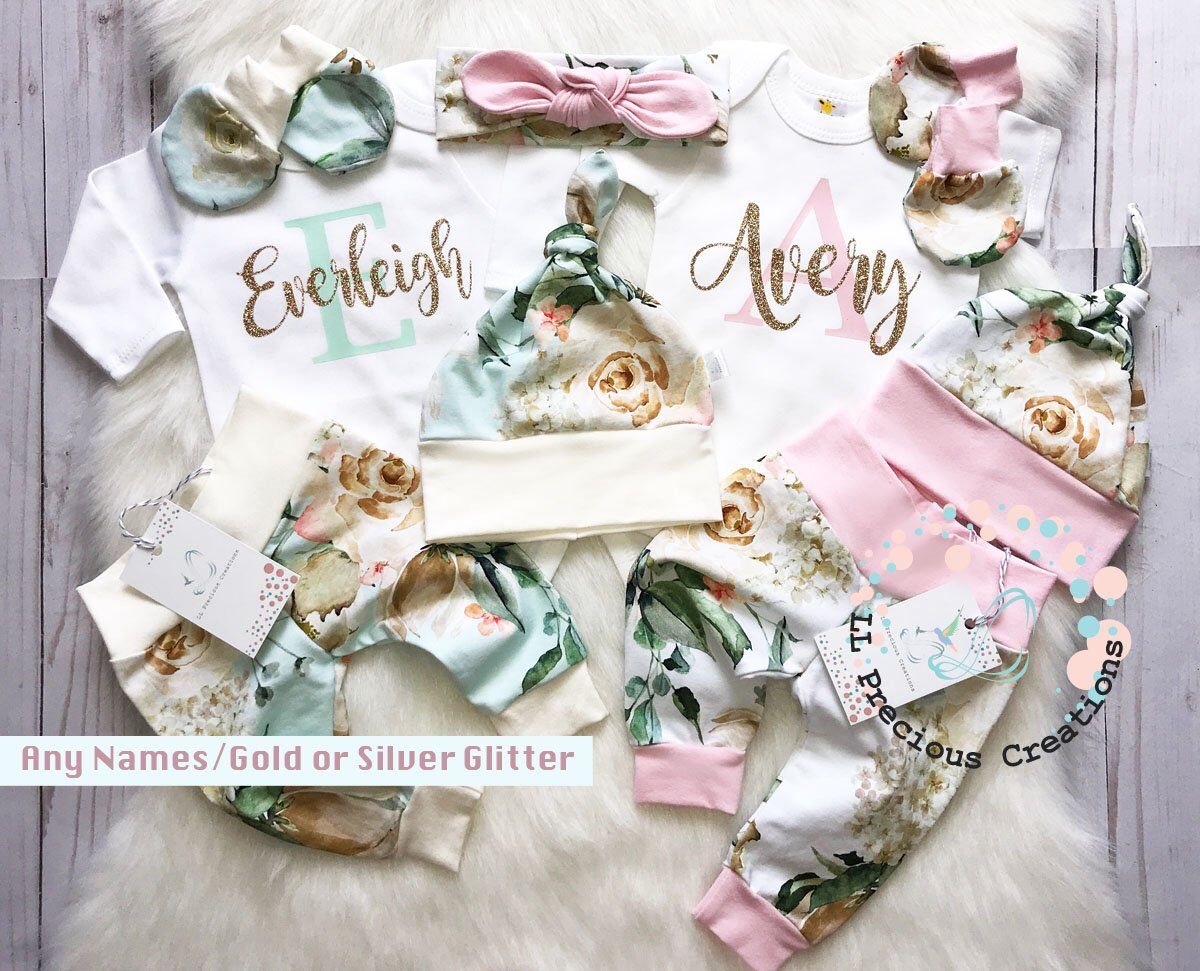 Photo of Twin Girls Coming Home Outfit Newborn Outfit Baby Girl Outfits Twin Girls  Personalized Twin Outfits Pink Grey Stripes Glitter Ivory Roses