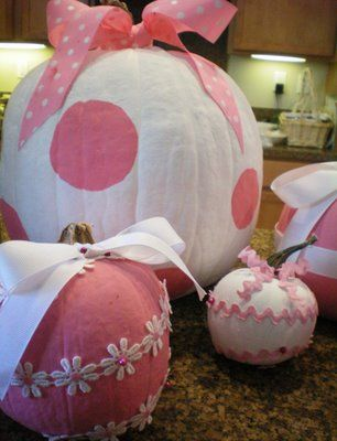 So cute! Pink painted pumpkins