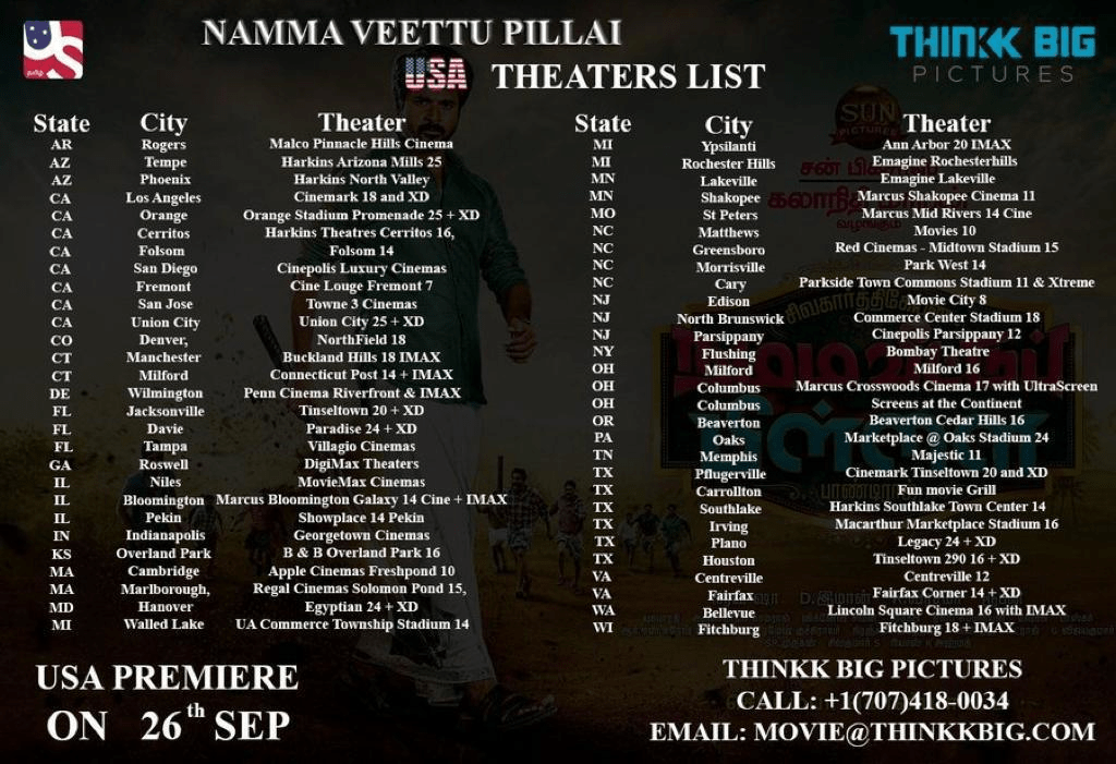 Namma Veettu Pillai Movie Usa Theaters List Social News Xyz Movie Schedule Movies List