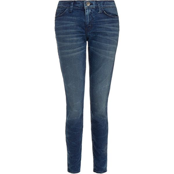 Current Elliott The Ankle Skinny Eclipse Jean (€150) ❤ liked on Polyvore featuring jeans, blue, skinny fit denim jeans, skinny leg jeans, current elliott jeans, cut skinny jeans and bleached blue jeans