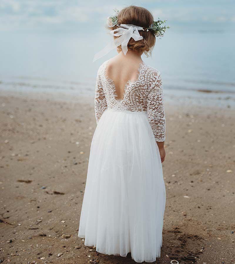 Photo of Girls Swan White Long Sleeve Lace Back Dress – Arabella And Rose