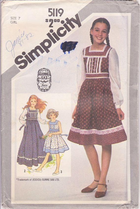 80s Girls Prairie Dress Sewing Pattern Gunne Sax Size 7 Bust 26 ...