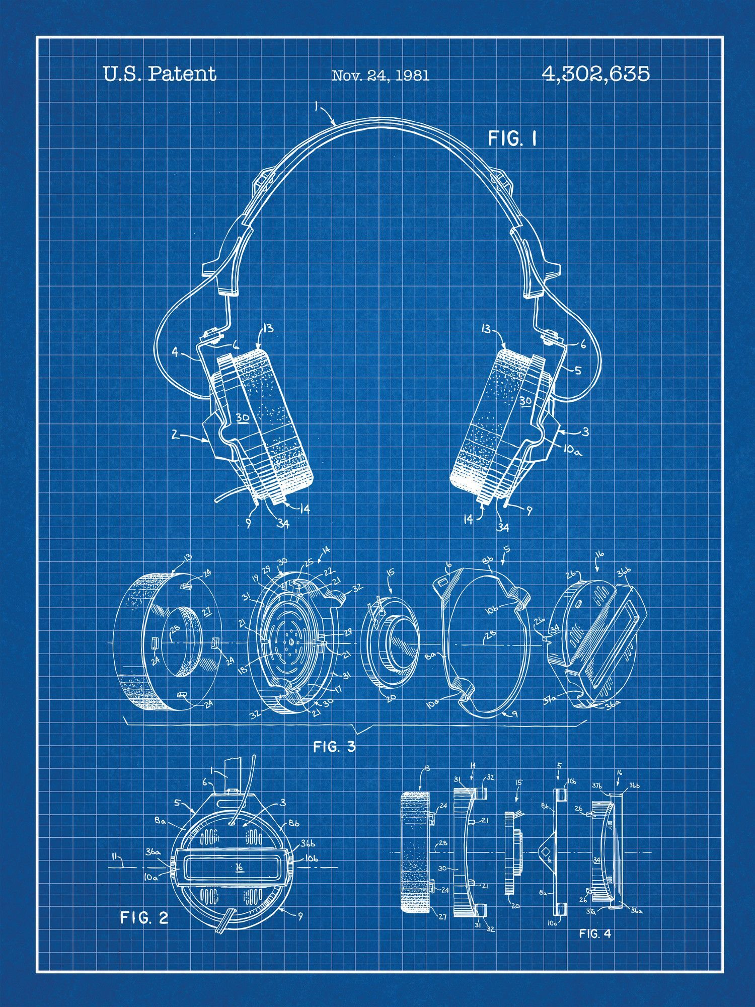 Headphones blueprint graphic art poster in blue gridwhite ink headphones blueprint graphic art poster in blue gridwhite ink malvernweather Gallery