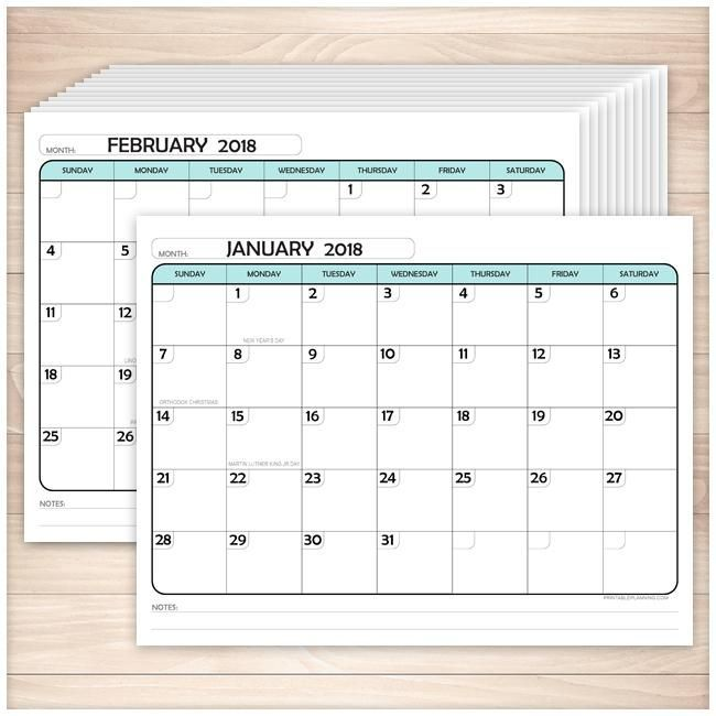 Modern Teal 2018 Calendar pages - Printable Month labels, Teal and