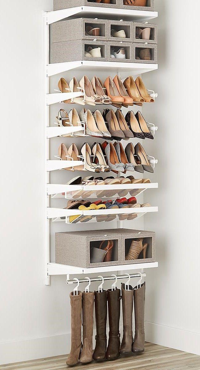 Elfa Decor 2 White Shoe Wall In 2020 Closet Shoe Storage Shoe Wall Closet Designs