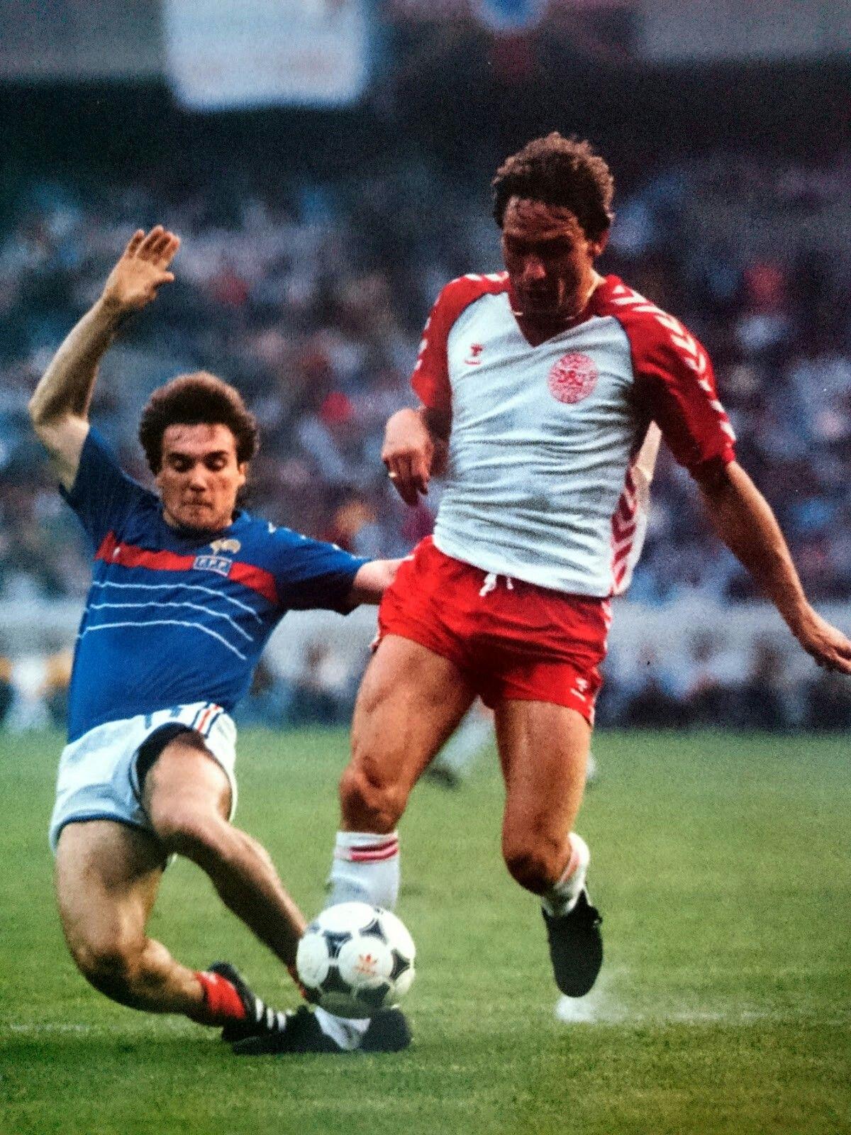 France 1 Denmark 0 in 1984 in Paris. Bruno Bellone tackles
