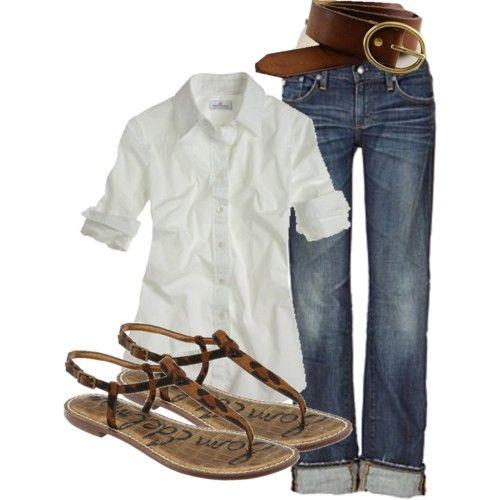 white button shirt, jeans