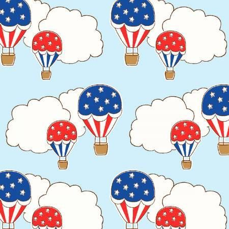 """""""Blue Hot Air Balloons 1930's""""- Storybook Americana by Whistler Studios for Windham"""