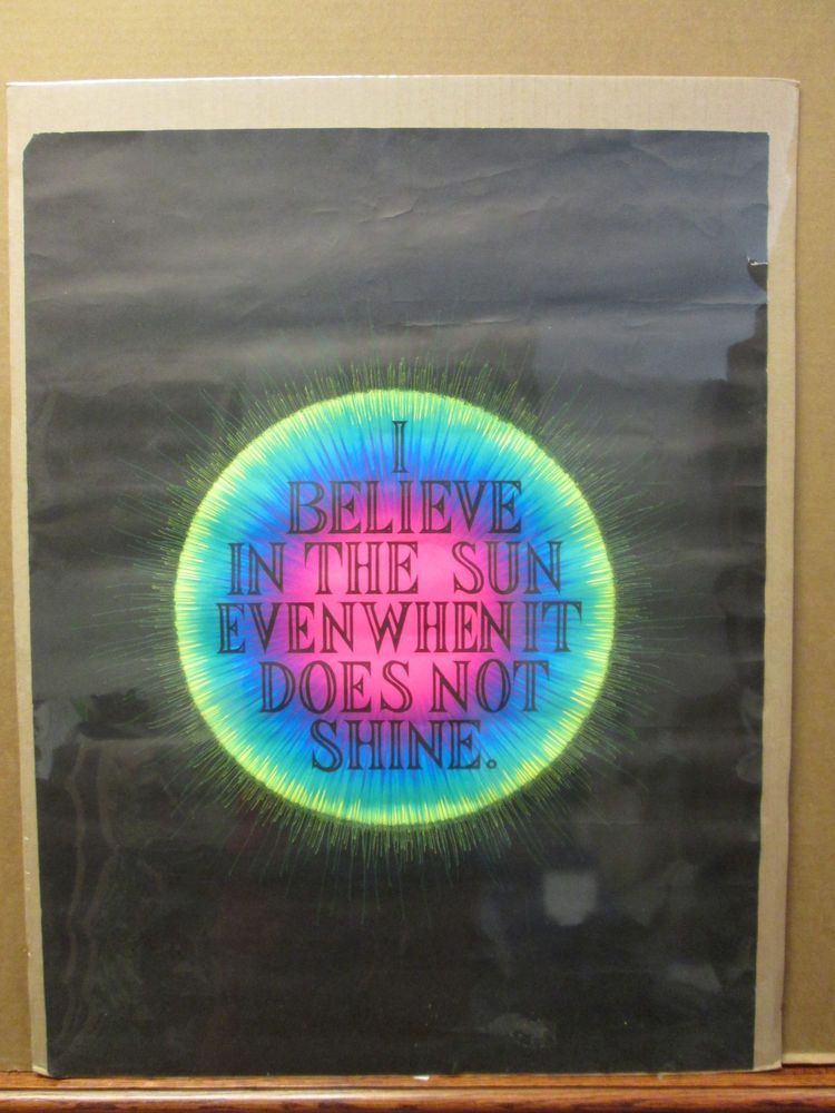 Vintage I Believe in the Sun original blacklight small poster   8429 #Vintage