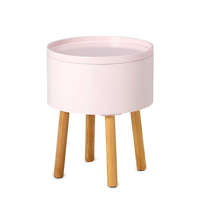 Cachou Bout de canapé rose avec coffre de rangement Pastels