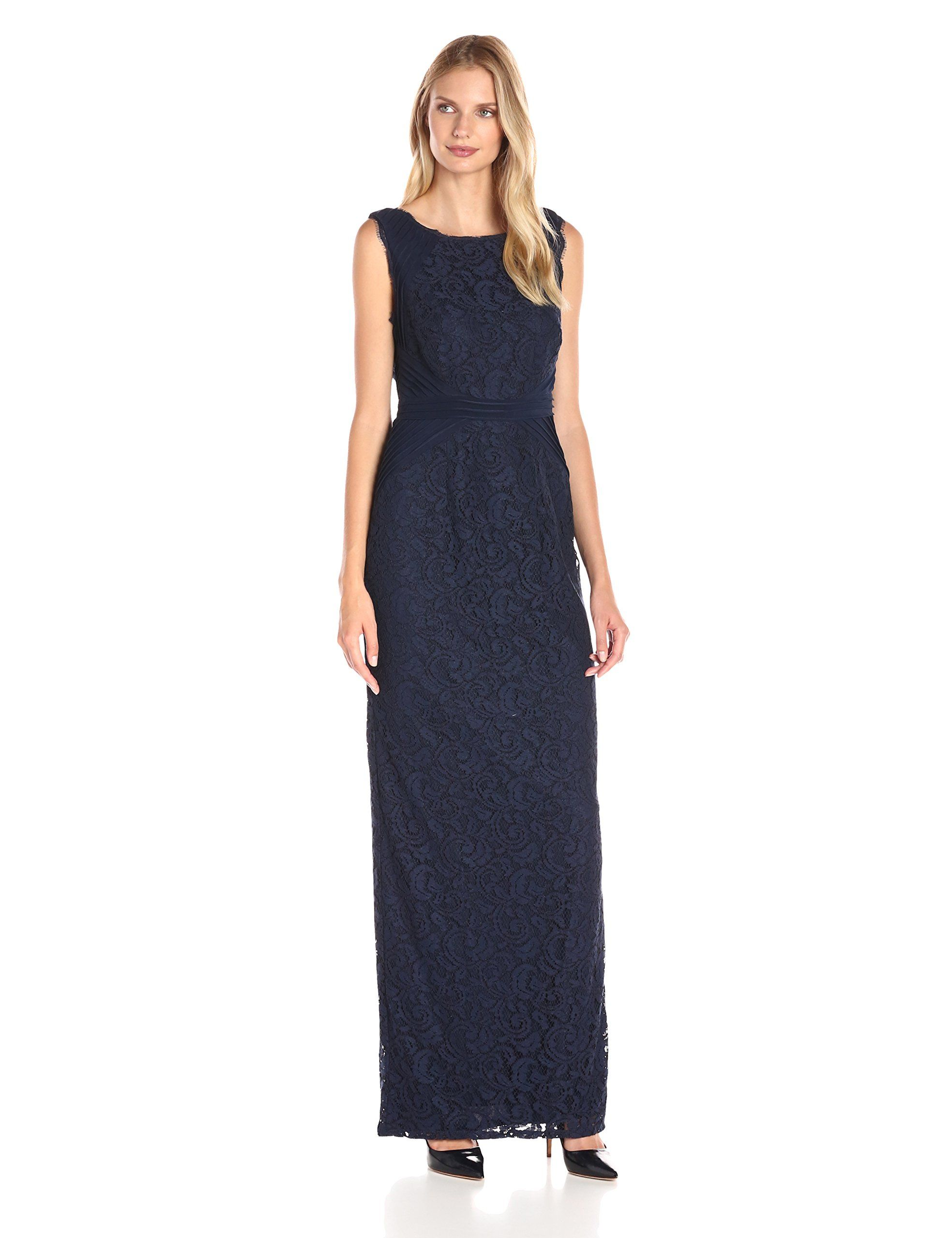294e37195e731 Adrianna Papell Women s Sleeveless Jersey and Lace Gown with Waist Detail