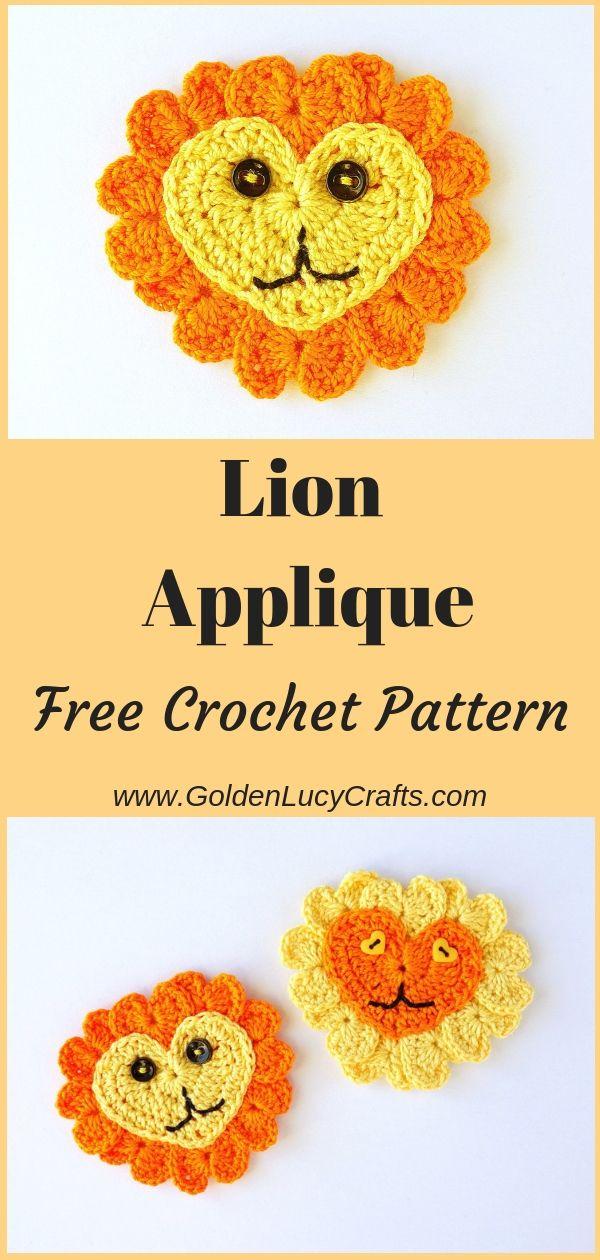Crochet Lion Applique, Heart-Shaped, Free Pattern | Crochet patterns ...