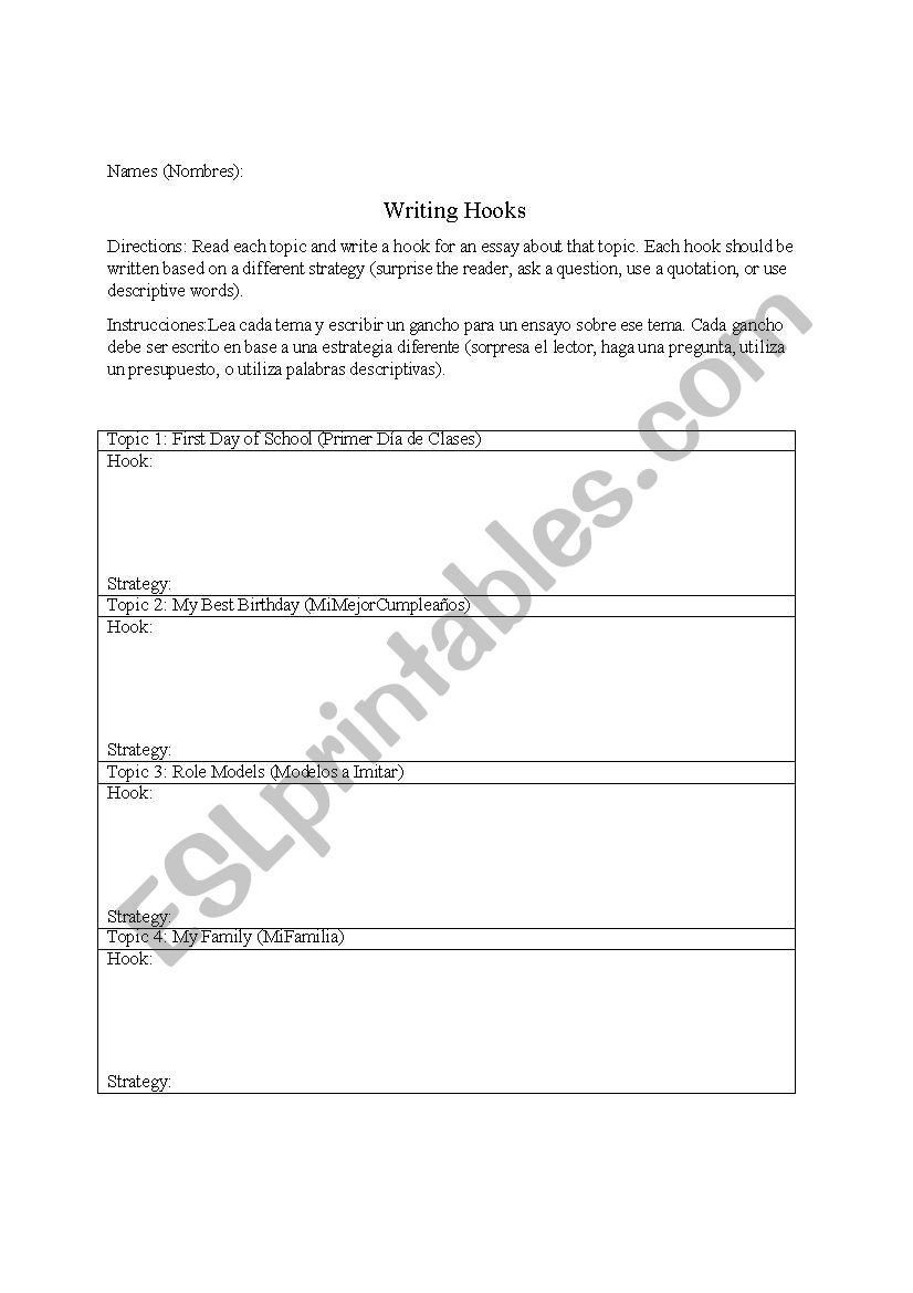 Writing A Hook Worksheet Writing Hooks Esl Worksheet By Caitop Writing Hooks Kids Worksheets Printables Worksheet Template