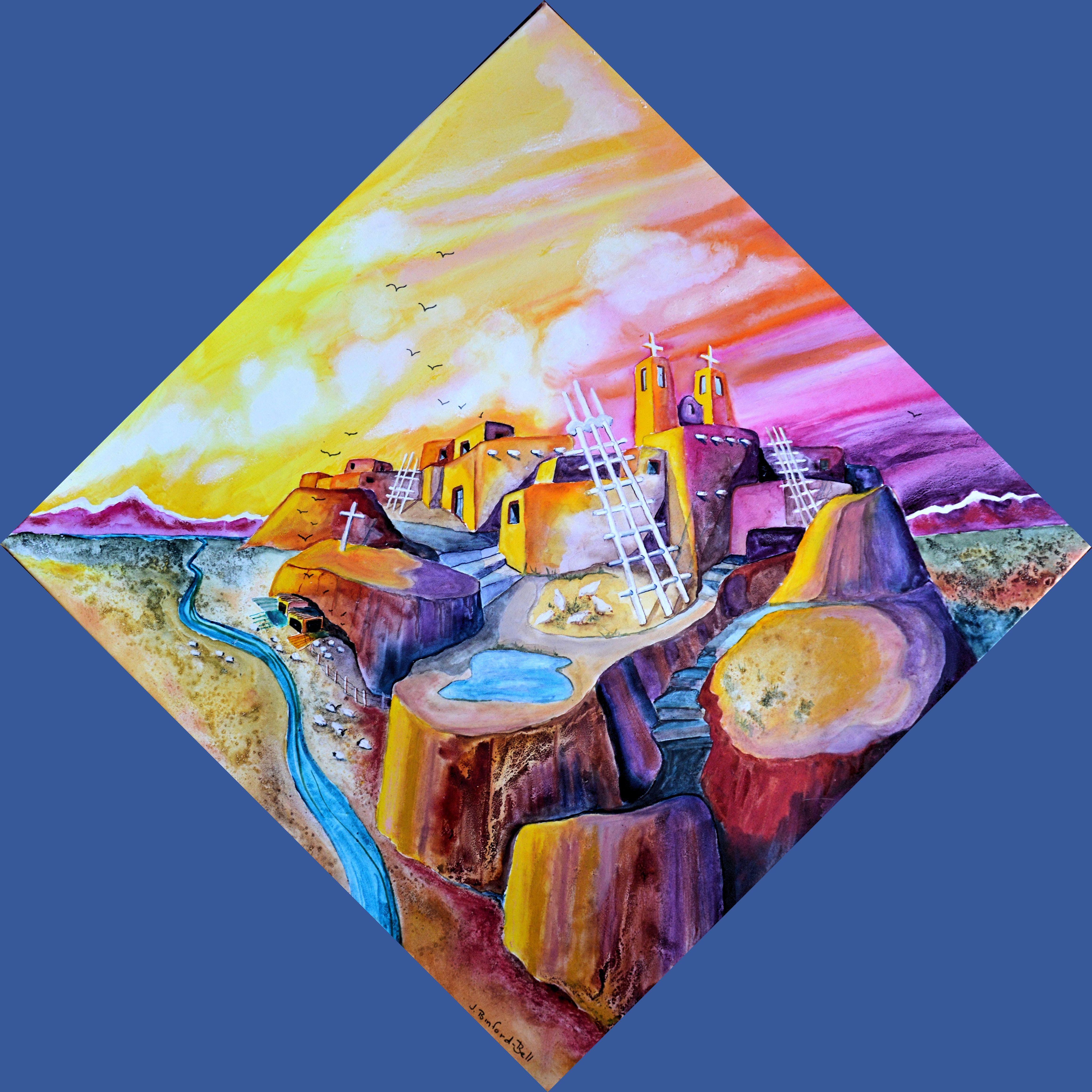 High Pueblo Dawn 28 x 28 Mixed media on Canvas $1775