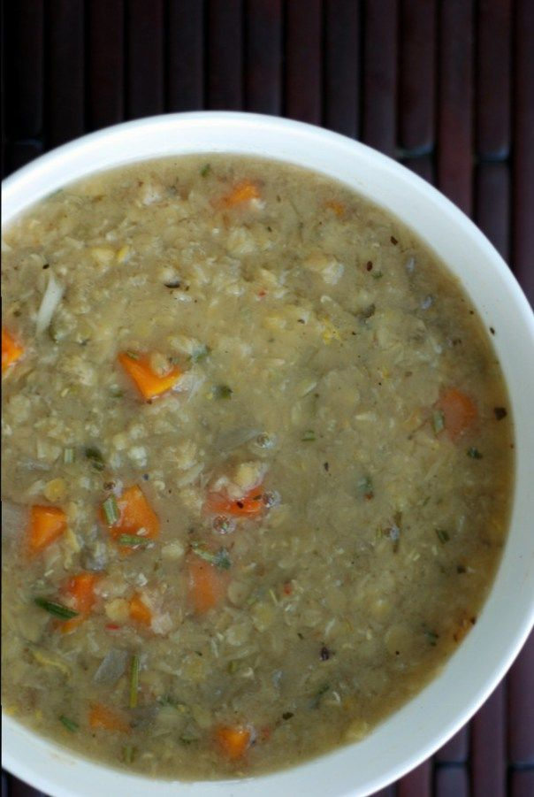 Greek Red Lentil Soup with Lemon and Rosemary