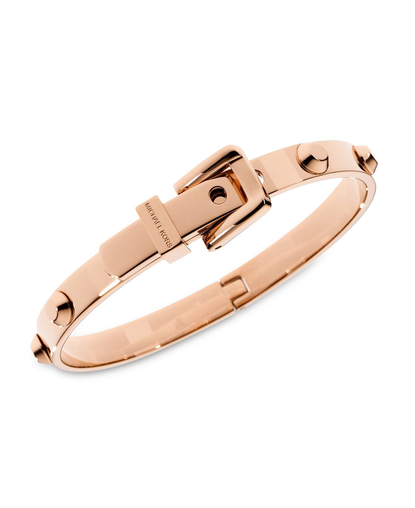Michael kors bracelet rose gold tone steel buckle bangle for Macy s jewelry clearance