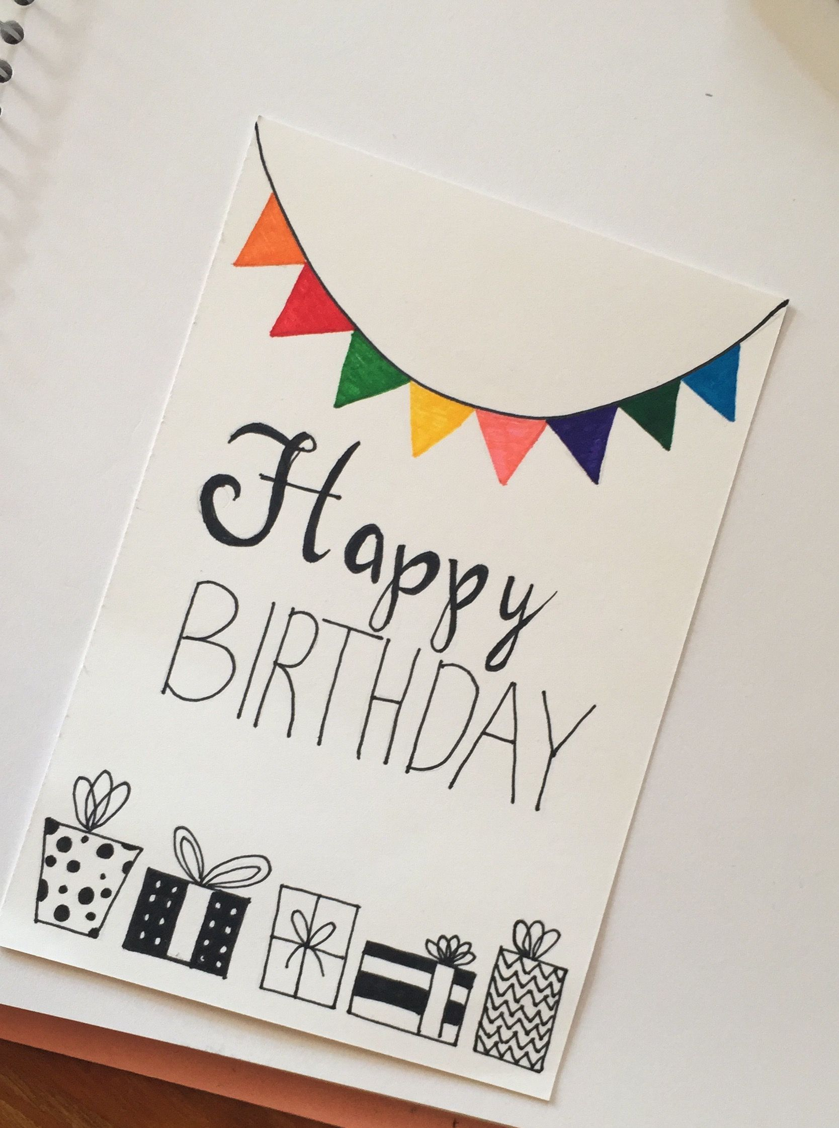 Happy Birthday Card Flag Cute White Design Handmade Drawn Pen Family