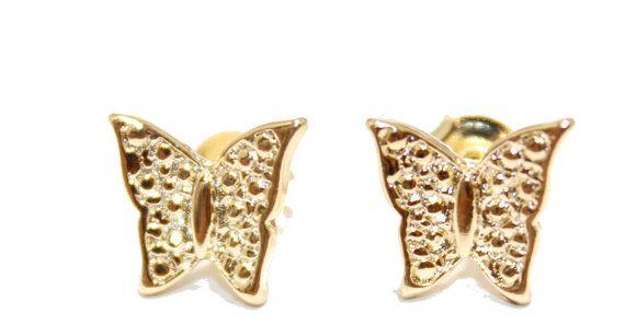 Schmetterling Stud Ohrringe 18k vergoldete Ohrringe