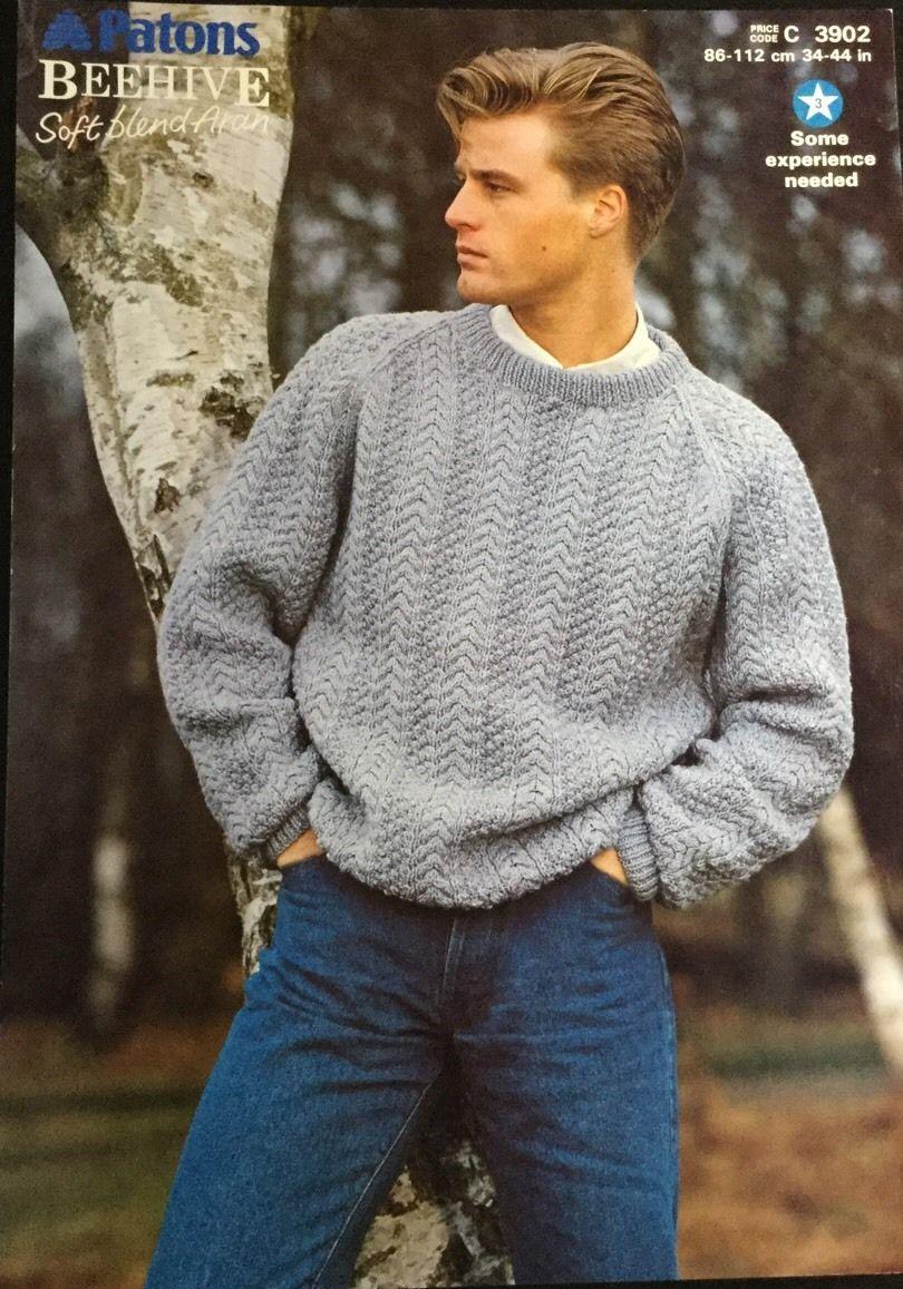 Patons Aran Knitting Pattern Mens Sweater Jumper Size Size ...