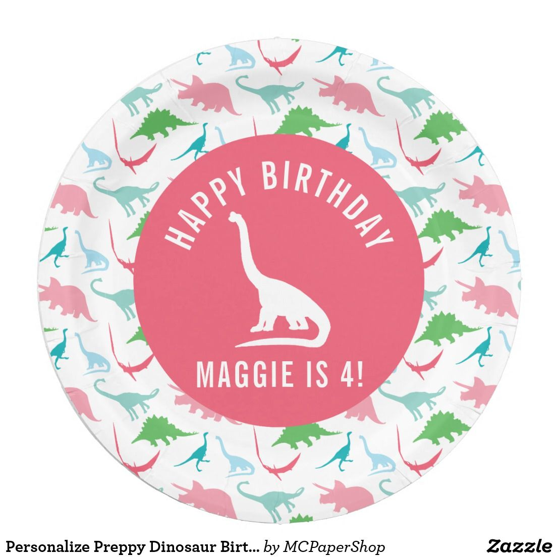 Personalize Preppy Dinosaur Birthday Party Plate Zazzle