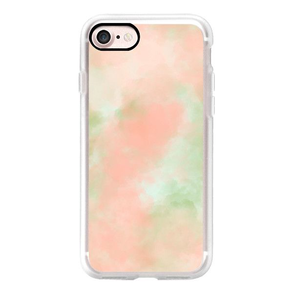 Modern pastel peach coral green watercolor paint by Girly  Trend -... (46,930 KRW) ❤ liked on Polyvore featuring accessories, tech accessories, iphone case, iphone cover case, iphone cases, green iphone case and apple iphone case