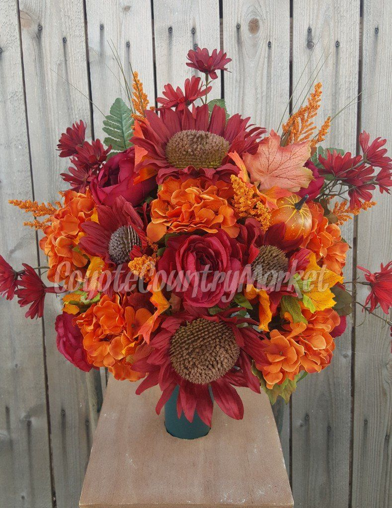 Fall Cemetery Vase Flowers For Grave Vase Grave Flowers Fall