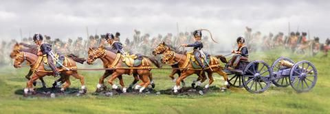 Napoleonic British RHA Royal Horse Artillery Caisson complete set - Made by The Collectors Showcase Military Miniatures and Models. Factory made, hand assembled, painted and boxed in a padded decorative box. Excellent gift for the enthusiast.