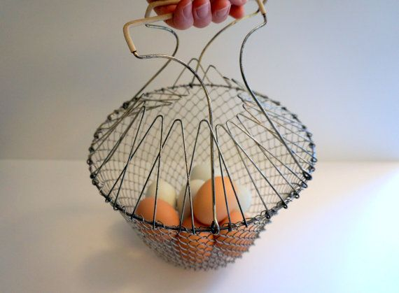 vintage wire trivets   Vintage Wire Egg Basket - Collapsible Wire Mesh with White Handles