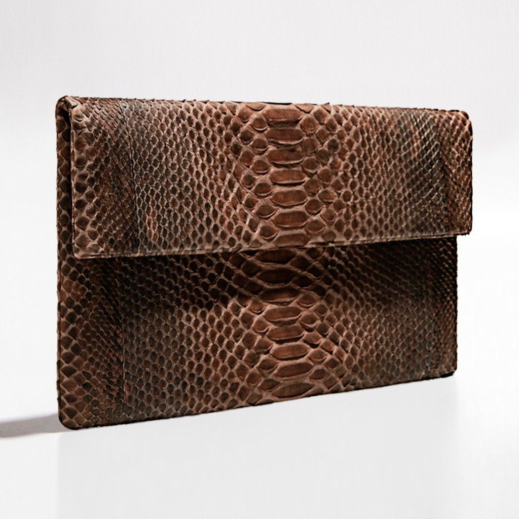 Deep brown and black python clutch by Verinosa More colors www.verinosa.ee