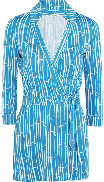 Diane von Furstenberg Celeste printed silk-jersey wrap playsuit #shoes #shopping #style