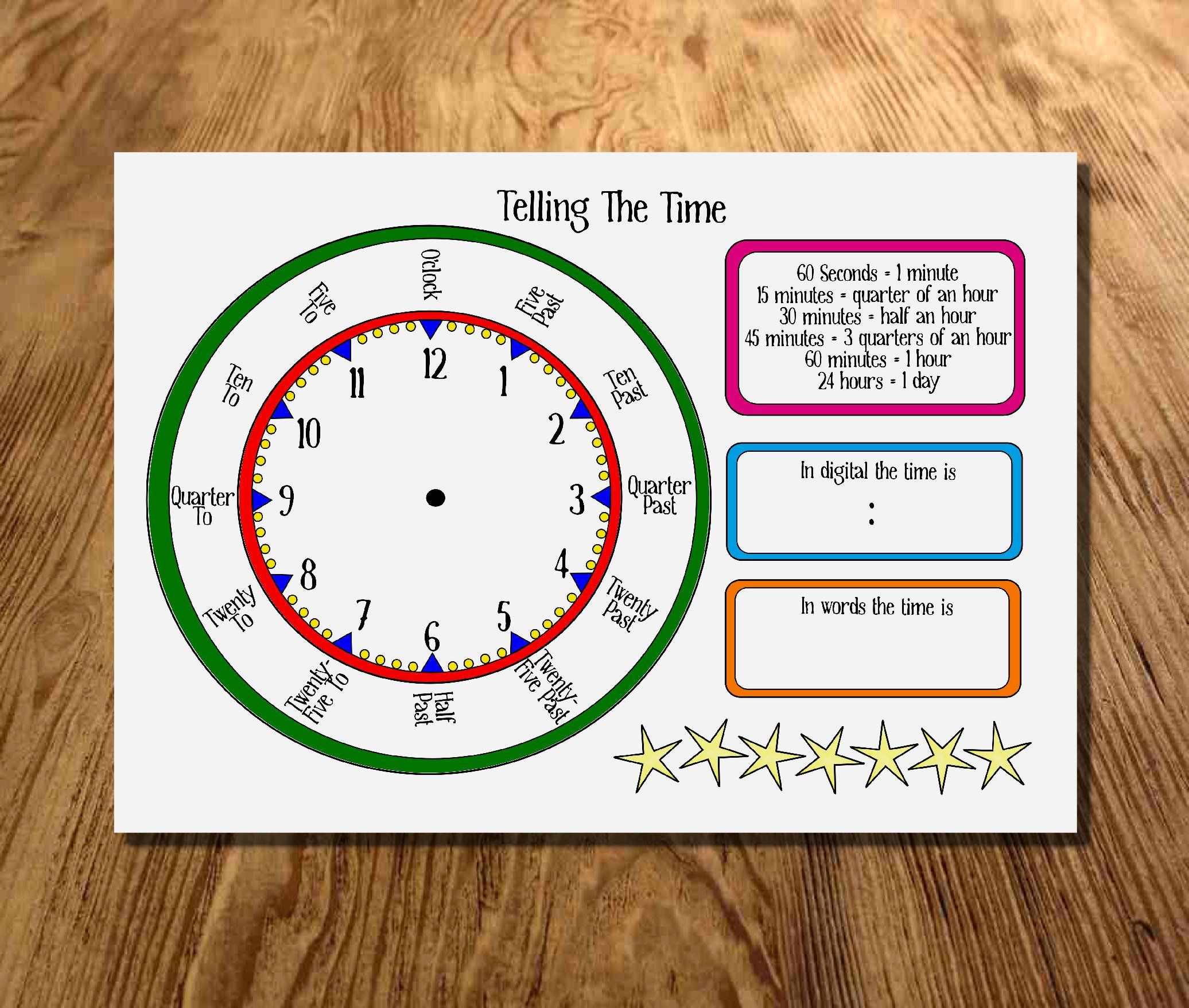 Kids Telling The Time Learning Mat Car Journey Instant