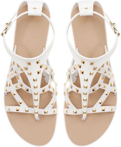 db6dfdfa1c00 Flat Studded Sandals - Lyst