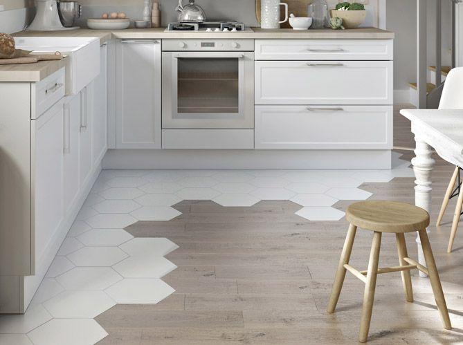 cuisine carrelage octogonal avec parquet floors pinterest mix match les tendances et pieds. Black Bedroom Furniture Sets. Home Design Ideas